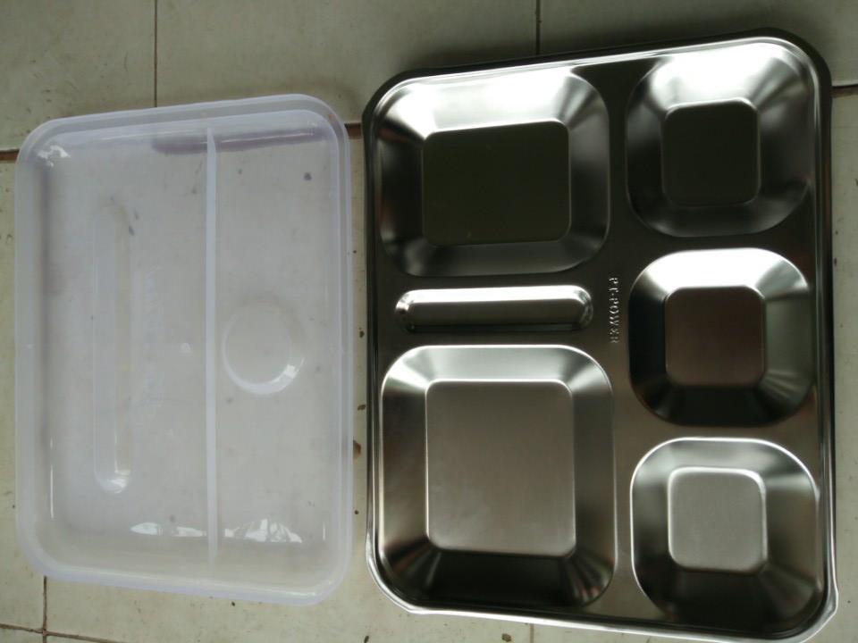 Khay cơm phần inox có nắp ngăn rộng