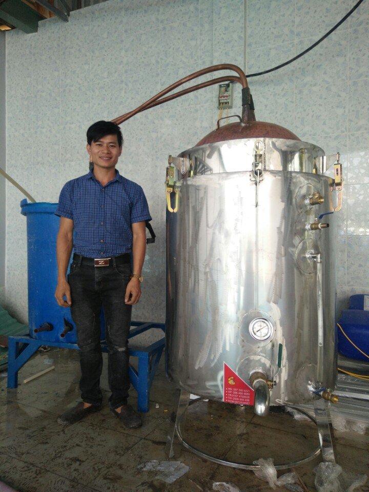 Nồi Nấu Rượu Bằng Điện Inox Lõi Đồng Dùng 100 Kg Gạo