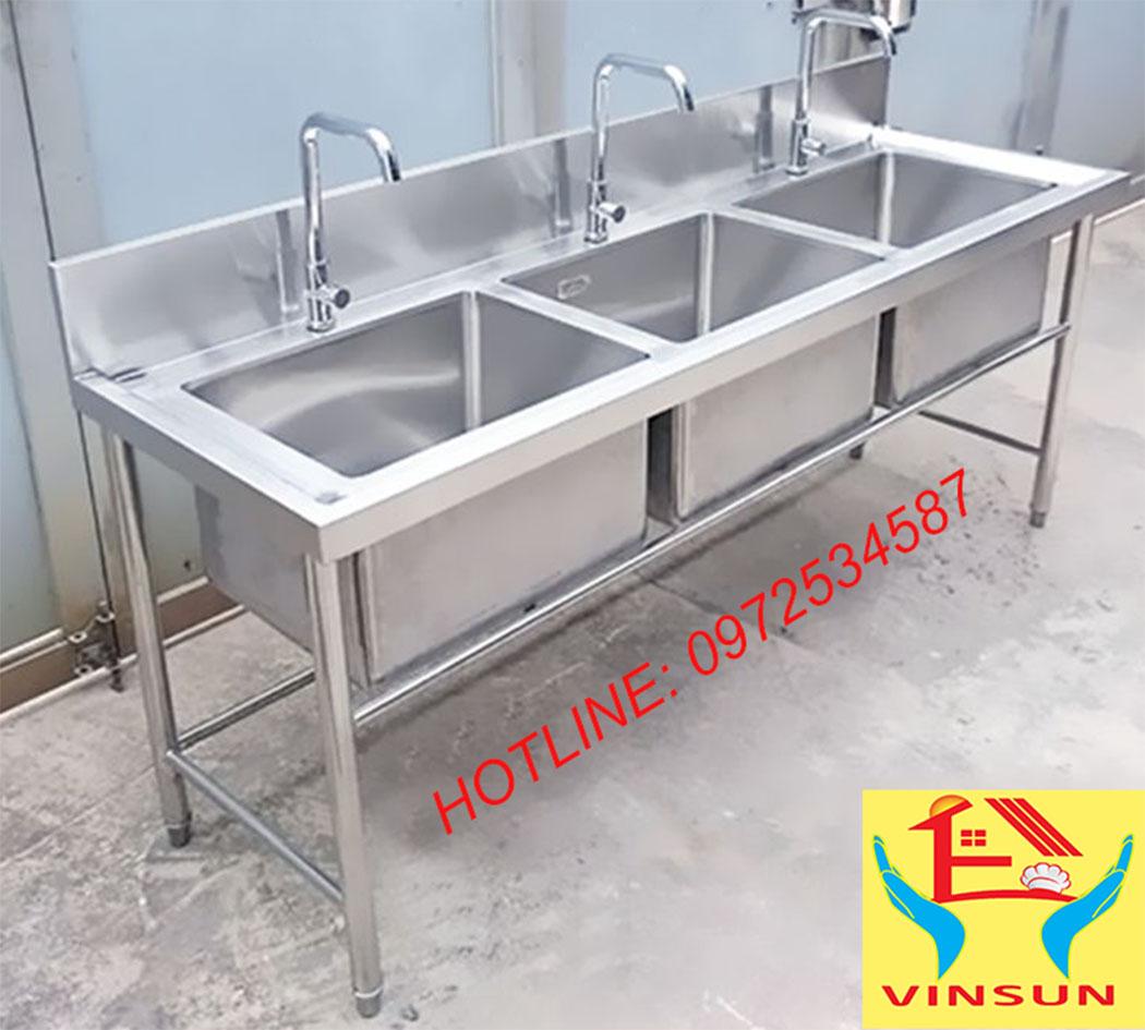 Chậu Rửa Công Nghiệp 3 Hố VinSun