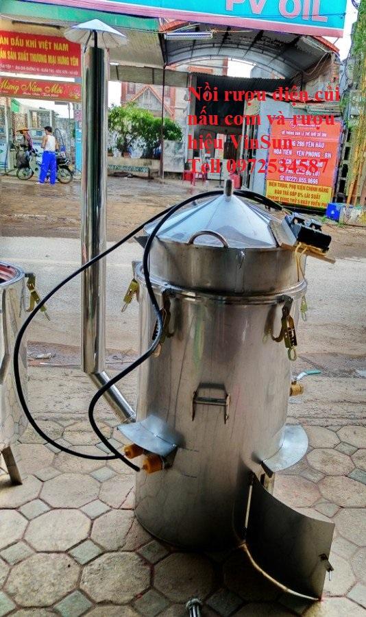Nồi Rượu Inox Dùng Điện Củi hoặc Biogas Nấu Đa Năng 20 Kg Gạo